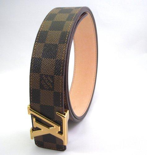 Damier – Ebene Belt – Gold Buckle Initials