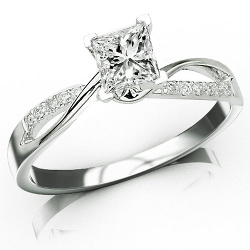 0.82 Carat GIA Certified Princess Cut / Shape 14K White Gold Elegant Twisting Split Shank Diamond En
