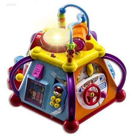 WolVol Musical Activity Cube Play Center with Lights, 15 Functions & Skills – Great Gift Toys for th
