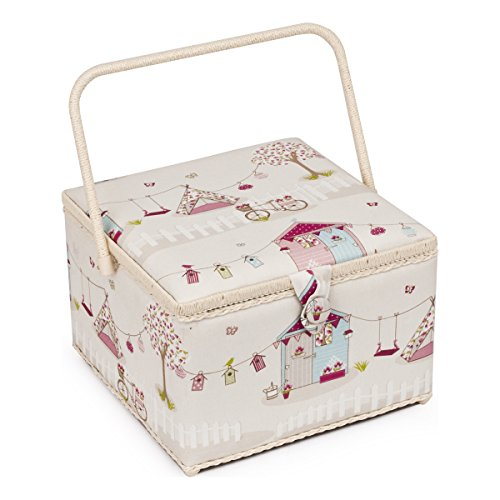 Hobby Gift Holiday Design Square Sewing Basket Pink & Blue on Cream Extra Large (30.5 x 30.5 x 22cm)