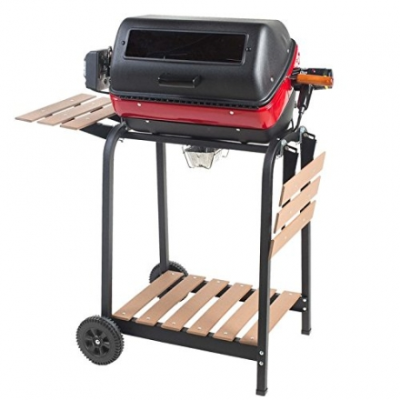 Meco Aussie 9329W Deluxe Electric Cart Grill with Rotisserie, Satin Black