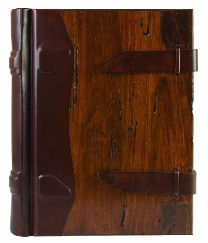 Eccolo Made in Italy Contadina Album With Wood Covers and Tooled Leather Spine With 50 Ivory Pages,
