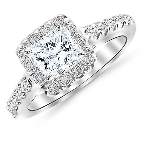 GIA Certified 1.45 Carat Princess Cut/Shape Square Cushion Halo Diamond Engagement Ring with a 0.69