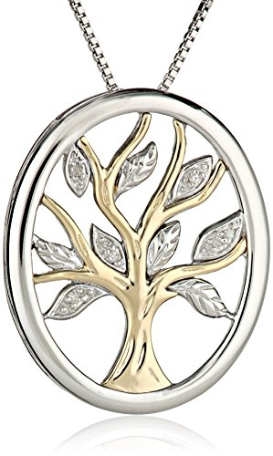XPY Sterling Silver and 14k Yellow Gold Diamond Tree of Life Pendant Necklace, 18″