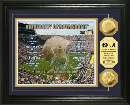 NCAA Notre Dame 2013 BCS National Championship Game Gold Coin Photomint