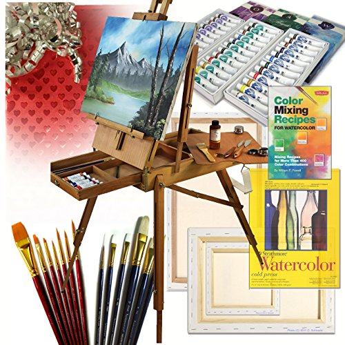 French Art Easel Set – Valentines Day Gift Edition – with Comprehensive Artist Quality Painting Supp