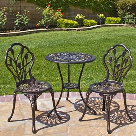 Best Choice Products® Outdoor Patio Furniture Tulip Design Cast Aluminum Bistro Set in Antique Copp