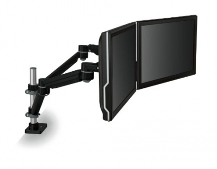 3M Easy Adjust Desk Mount Dual Monitor Arm, Space Saving Design, For Monitors Up to 20 lbs and <= 30