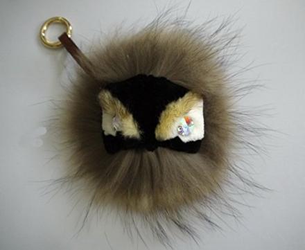 Brown Mink Fox Fur Monster Bugs Pom Pom Doll Ball Key Ring/ Keychain /Bag Charm