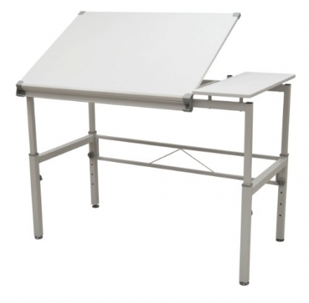STUDIO DESIGNS Graphix II Workstation, 53.75″W x 31.25″D x 27″ – 38.75″H White/Gray 10210