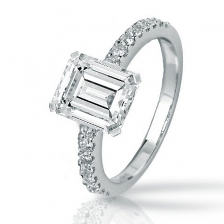 1.31 Carat Emerald Cut / Shape 14K White Gold Classic Side Stone Pave Set Diamond Engagement Ring (