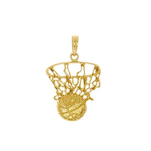14k Gold Sports Charm, Swoosh Basketball & Net