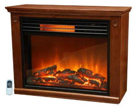 Lifesmart Easy Set 1000 Square Foot Infrared Fireplace Includes All Wood Mantle & Remote