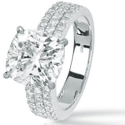 1.7 Carat Cushion Cut / Shape 14K White Gold Modern Triple Three Row Pave Set Round Cut Diamond Enga