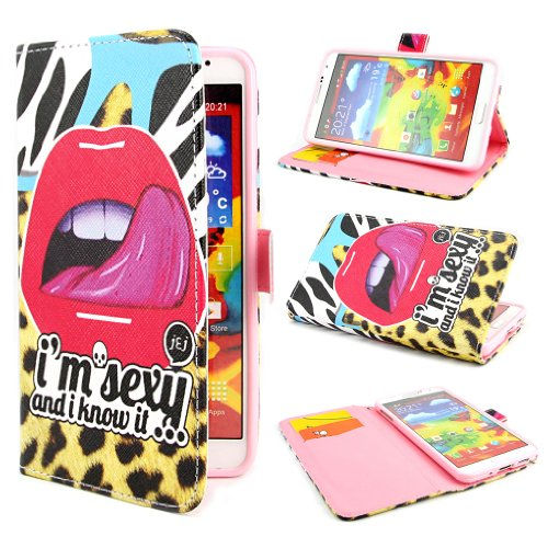 PpIiNnKk Painting Art Lips Design PU leather Flip Cover Case for Samsung Galaxy Note 3 III N9000 / N