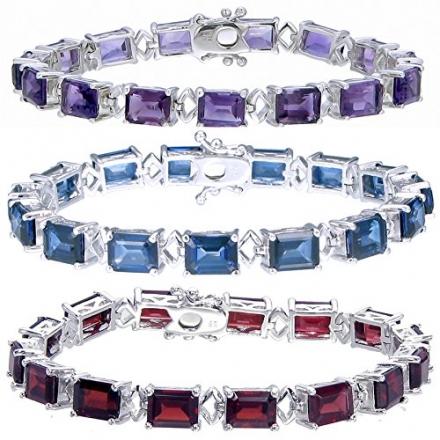 Sterling Silver Blue Sapphire, Garnet, or Amethyst Bracelet