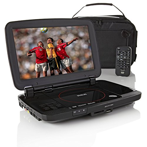 RCA 10″ DVD/CD Player Travel Bundle with Remote, Headrest Case, Earbuds, AC/DC Chargers and 8 Animat