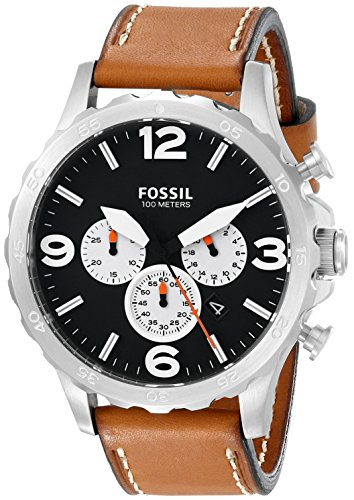 Fossil Men's JR1486 Nate Stainless Steel Watch with Brown Leather Band