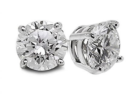 Diamond Studs Forever 3/4 Carat Total Weight Solitaire Diamond Earrings GH/I2-I3 14K White Gold