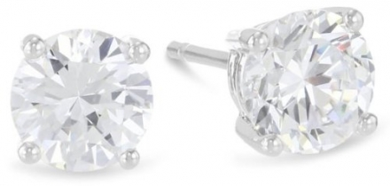3/4 Carat Solitaire Diamond Stud Earrings Round Brilliant Shape 4 Prong Push Back (G-H Color, VS1-VS