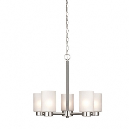 Westinghouse 6227400 Sylvestre Five-Light Interior Chandelier, Brushed Nickel Finish with Frosted Se