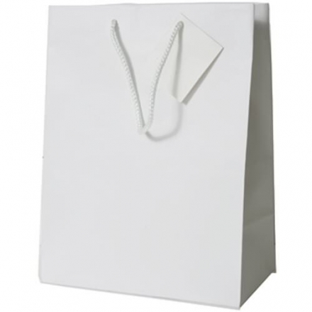 JAM Paper® Glossy Gift Bags with Rope Handle – Medium Size (8 x 4 x 10 inches ) – White – 100 Giftb