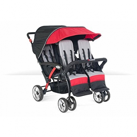 Foundations Baby Infant Carrier Quad Sport 4-Passenger Stroller-Red
