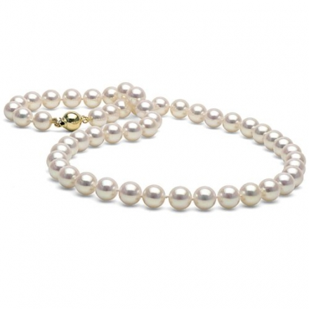 White Akoya Pearl Necklace 8.0-8.5mm – 14K Yellow Gold Ball Clasp High Polish AAA Quality