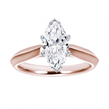 14K Rose Gold Solitaire Diamond Engagement Ring Marquise Cut ( J Color SI2-I1 Clarity 1.78 ctw)