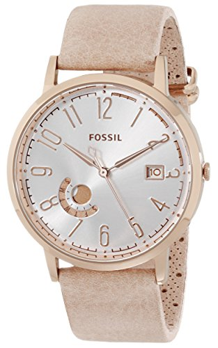 Fossil Women's ES3751 Vintage Muse Three-Hand Day/Date Leather Watch – Bone