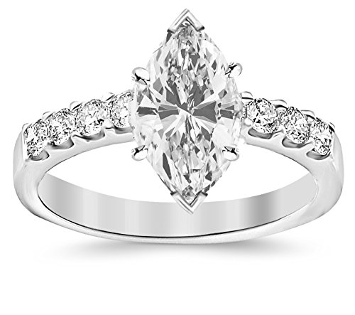 GIA Certified 0.97 Carat Marquise Cut/Shape 14K White Gold Classic Prong Set Round Diamond Engagemen