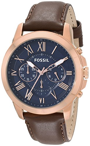 Fossil Men's FS5068 Grant Chronograph Leather Watch – Brown