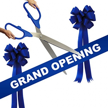 Grand Opening Kit – 36″ Blue/Silver Ceremonial Ribbon Cutting Scissors with 5 Yards of 6″ Royal Blue