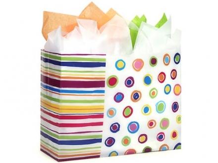 VOGUE Rainbow Spots Shopping BagsBULK HD Plastic 16x6x12″ 1 unit, 250 pack per unit.