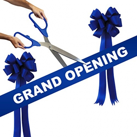 Grand Opening Kit – 25″ Blue/Silver Ceremonial Ribbon Cutting Scissors with 5 Yards of 6″ Royal Blue