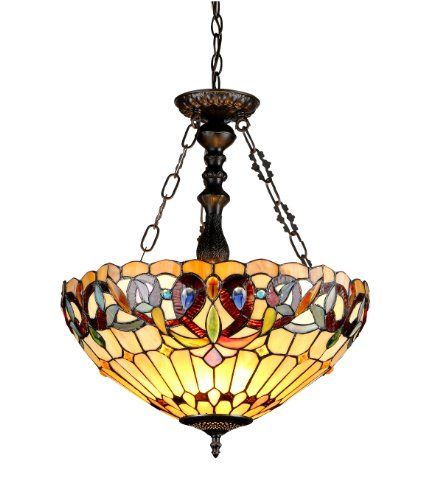 Chloe Lighting CH33353VR18-UH3 Serenity Tiffany-Style Victorian 3-Light Inverted Ceiling Pendant wit