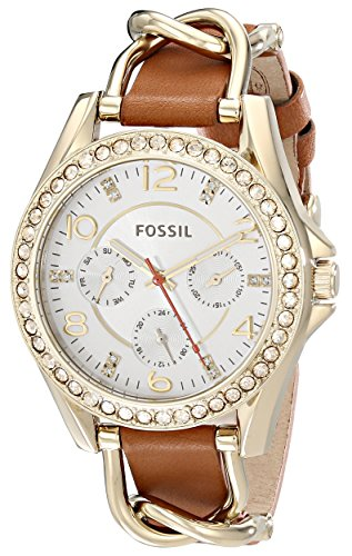 Fossil Women's ES3723 Riley Multifunction Stainless Steel and Leather Watch – Gold-Tone and Tan