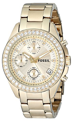 Fossil Women's ES2683 Decker Chronograph Stainless Steel Watch – Gold-Tone