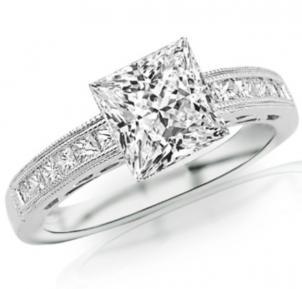 0.86 Carat GIA Certified Princess Cut / Shape Channel Set Diamond Engagement Ring ( G Color , VS1 Cl