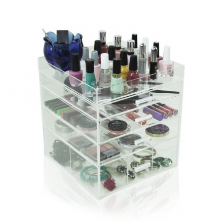 Acrylic Clear Makeup Cosmetic Case Cube Box 4 Drawers w/ All Dividers & Top Tray