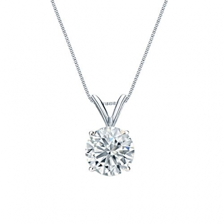 14k Gold Round Diamond Solitaire Pendant 4-Prong Basket (1/5 cttw, H-I color, I2-I3 clarity)
