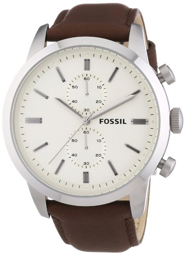 Fossil Men's FS4865 Townsman Stainless Steel Watch with Brown Leather Band