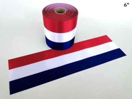 6″ Wide RED/WHITE/BLUE Ceremonial Ribbon for Grand Openings/Re-Openings and Ribbon Cutting Ceremonie
