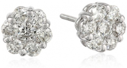 14k White Gold Flower Diamond Stud Earrings (1 cttw, H-I Color, SI2-I1 Clarity)