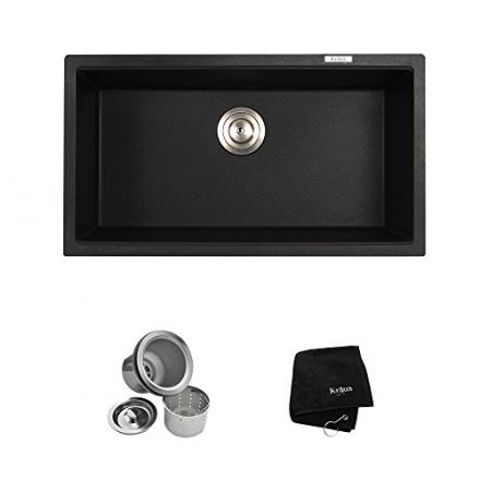 Kraus KGU-413B Undermount Single Bowl Onyx Granite Kitchen Sink, 31-Inch, Black