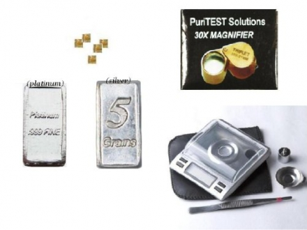 Complete Set Precious Metals Sample Bars with Coin Scale and Magnifying Glass
