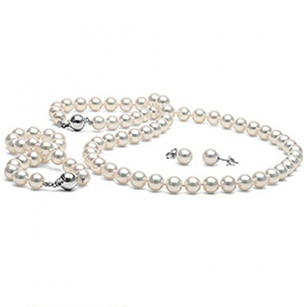 White Akoya Cultured Pearl 3-Piece Jewelry Set 7.0-7.5mm-AAA Quality-White Gold
