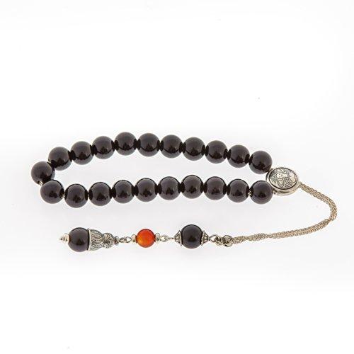 Onyx & Carnelian Gemstones Handmade Worry Beads (Komboloi) Sterling Silver 925, Horoscope Sign of Vi