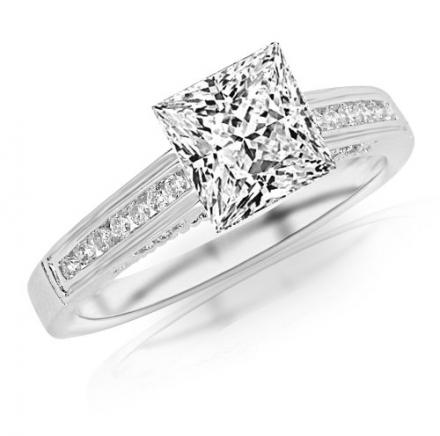 0.7 Carat Princess Cut Classic Channel Set Diamond Engagement Ring (D-E Color, VS1-VS2 Clarity)