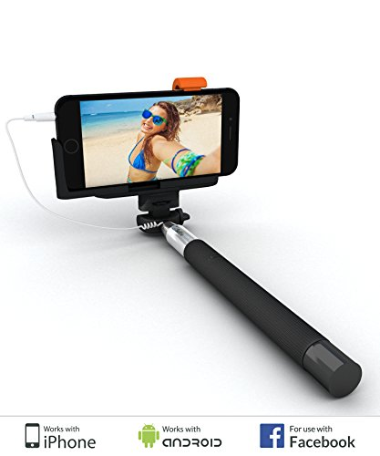 """SELFIE WORLD™ Easy Selfie Stick/Monopod For Non-Techies – Simple """"Plug 'n Play"""" For Apple iPhone 4"""